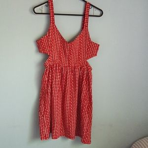 Red and white heart print dress.